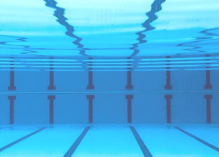 underwater view of swimming pool lanes